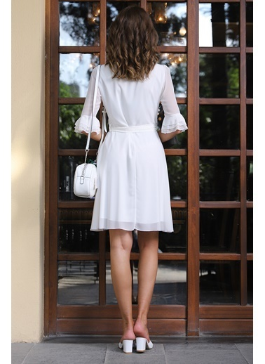 İroni İspanyol Kol Şifon Elbise Ekru